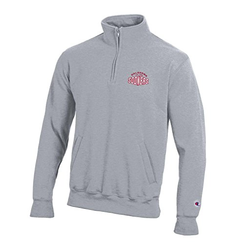 Champion NCAA Oklahoma Sooners Men's All-around Fleece 1/4 Zip Jacket, X-Large, Gray