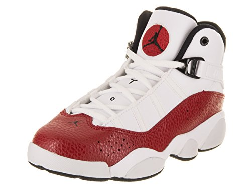 NIKE PS Boys' Jordan 6 Rings Basketball Shoes White/Black-Gym Red 1Y by NIKE