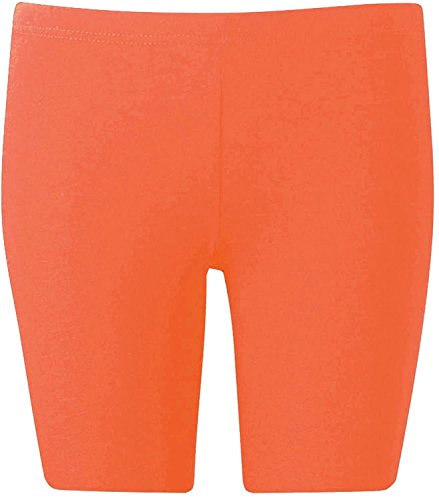 New Womens Plus Size Over Knee Plain Jersey Cycling Shorts ( Coral, 1X )