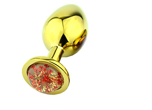 Anal Plug Stainless Steel Metal Plated Plug Butt Fantasy Chrysanthemum Sex Toys Adult Products (Golden + Red(Small)1)