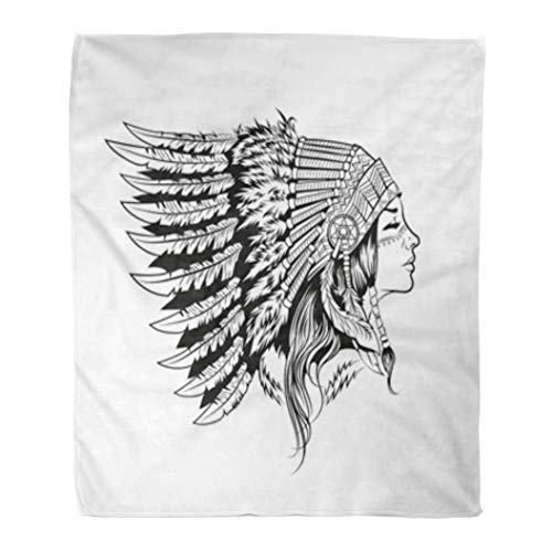 Golee Throw Blanket Native American Indian Girl in National Headdress Cherokee Woman Aboriginal 50x60 Inches Warm Fuzzy Soft Blanket for Bed Sofa -