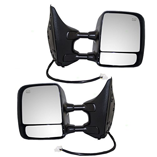 Driver and Passenger Power Tow Mirrors Heat Chrome Memory Telescopic Dual Arms Replacement for Nissan Pickup Truck 96302ZR30E 96301ZR30E AutoAndArt