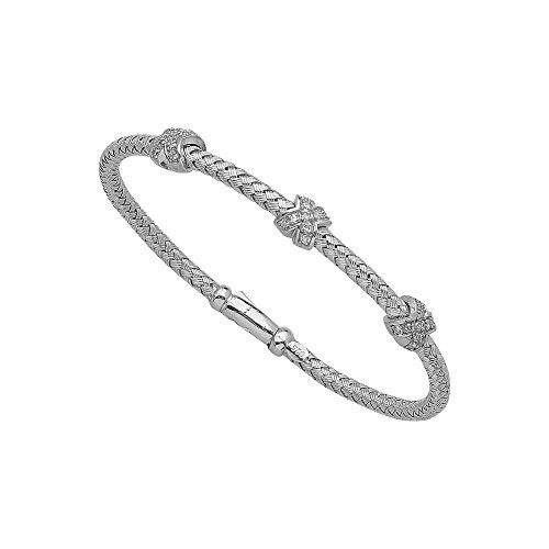 (Sterling Silver Rhodium Plated Fancy Mesh Diamond Bangle Bracelet - 7.25 Inch)