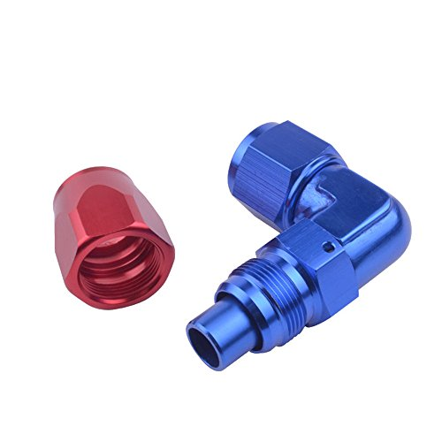 Evil Energy AN 10 Enforced Oil Fuel Air Hose End Fitting 90 Degree Adapter Aluminum Blue&Red