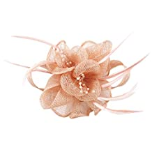 La Vogue Women Ivroy Wedding Hair Fascinator Feather Sinamay Hair Clip