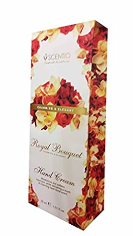 SCENTIO Royal Bouquet Charming & Elegant Hand Cream. Moisturizes and softens hand skin, While delivering a touch of charming fresh floral scent. (1.01 fl.oz./ pack)