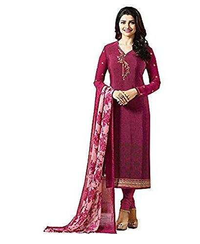 (Pink Royal Crepe Embroidered Indian Pakistani Churidar Salwar Suit)