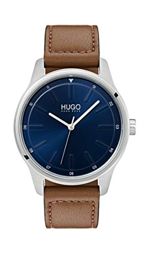 Hugo Men's #Dare Quartz Stainless Steel and Leather Strap Casual Watch, Color: Blue (Model: ()