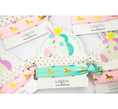 Unicorn Hair Ties and Bracelet Party Favors - 8 Pack (16 pieces) - Girls Birthday Party - Premium Quality and Unique Design