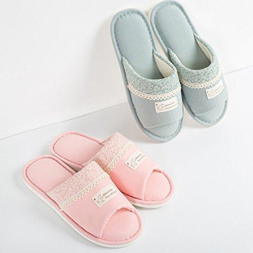 VWU - Zapatillas de estar por casa de algodón para mujer Erbsengrün