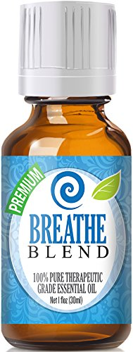 Breathe Blend 100% Pure, Best Therapeutic Grade Essential Oil - 30ml / 1 (oz) Ounce - Peppermint, Rosemary, Lemon, Eucalyptus