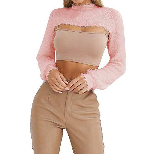 Clearance 2018! Elogoog Women's Solid Fluffy Long Sleeve Blouse Crew Neck Cutout Sexy Crop Tops (S, Pink)