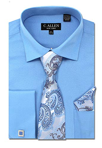C. Allen Men's Solid Square Pattern Regular Fit French Cuffs Dress Shirts with Tie Hanky Cufflinks Combo Blue