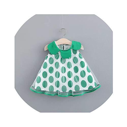 - 0-24M Kids Baby Girls Dress Princess Summer Sleeveless Mini Dress Dot Print Wedding Dress,Green,18M