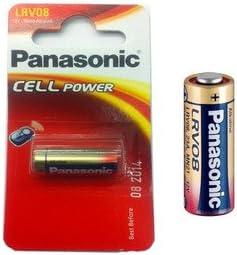 Panasonic LRV08 pila alcalina - Batería: alcalinas para alarmas de coche (la mayoría de los) 23AE LRV08 23A. MN21, V23GA 33 mAh 12 V 28,9 x 10,3 mm Peso 6 G