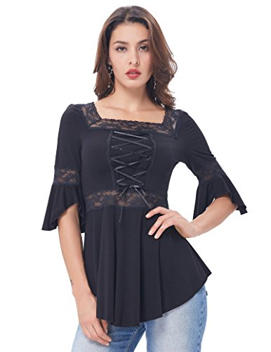 - Belle Poque Women's Victorian Gothic Shirt Renaissance Irregular Stretchy Cotton Tops M BP224