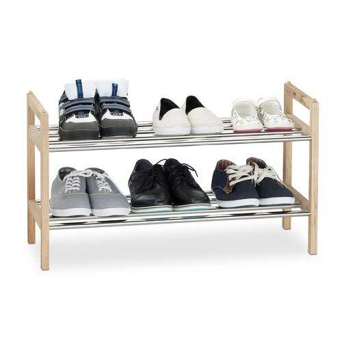 Relaxdays /Étag/ère /à chaussures Bois de Noyer 6 Paires Support D/ép/ôt Inox empilable 41x72x27 cm Nature-Argent/é