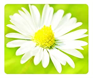 Pretty Flower Design Rectangular Mouse Pad White and Green