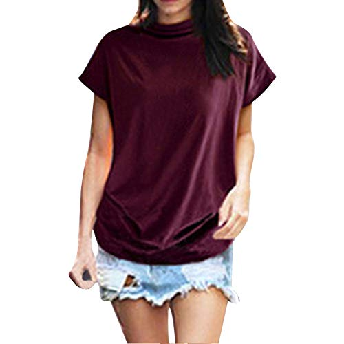 (New in Summer Haalife◕‿Women Turtleneck Short Sleeve Top Fashion Irregular Blouse T Shirt Casual Oversize Tunic Tops Red)