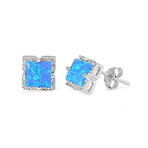 8mm Created Blue Opal with CZ Halo Geometric Square Earrings 925 Sterling Silver Womens