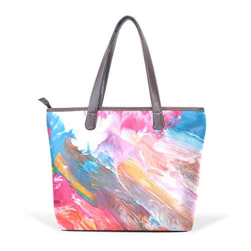 Women's Handbags Abstract Acrylic Hand Painted Background Tote PU -