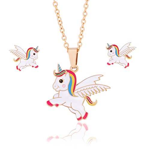 Nina Set Earrings - 316 Stainless Steel Cute Enamel Wings Unicorn Pendant Necklace Stud Earrings Set for Girls Kids Womens