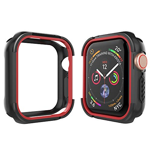 Alritz Compatible Apple Watch Case Series 4 44mm, Shock Resistant Bumper Cover Rugged Protective Case Apple Watch Series 4 (Black Red)