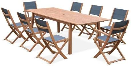 Salon de Jardin en Bois Extensible - Almeria - Table 180 ...