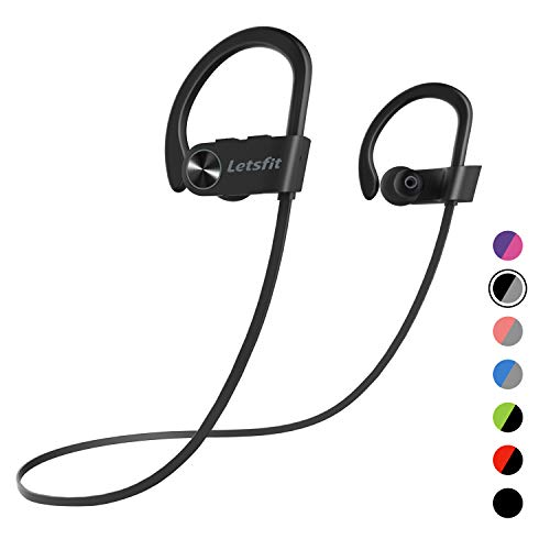 Bluetooth Headphones, Letsfit Wireless Headphones, IPX7 Waterproof Sports Earphones for Gym Running, HD Stereo Headset w/Mic, 8 Hours Battery Noise Cancelling Bluetooth Earbuds (BlackGrey)