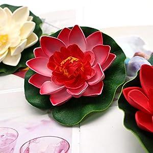 JETEHO Set of 8 Artificial Floating Foam Lotus Flower Water Lily for Home Garden Pond Aquarium Wedding Decor 2