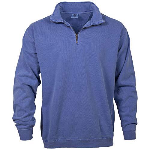 Comfort Colors Men's Adult 1/4 Zip Sweatshirt, Style 1580, Flo Blue, X-Large