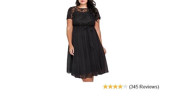 Nemidor Women s Scooped Neckline Floral lace Top Plus Size Cocktail Party  Midi Dress at Amazon Women s Clothing store  d8d20ab7c5e4