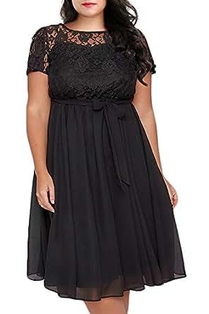 Image Unavailable. Image not available for. Color  Nemidor Women s Scooped  Neckline Floral lace Top Plus Size Cocktail Party Midi Dress ... d94c530899b0