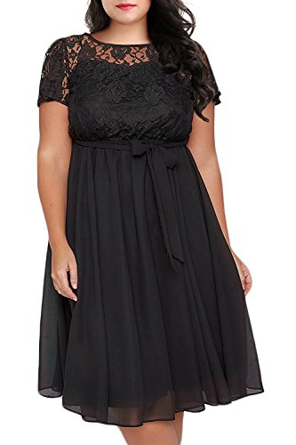 Nemidor Women's Scooped Neckline Floral lace Top Plus Size Cocktail Party Midi Dress (16W, Black)
