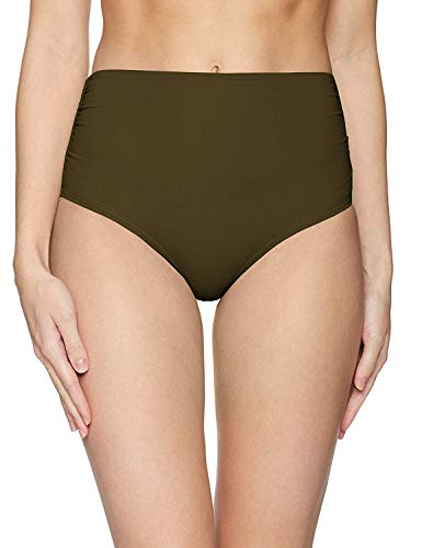 (Anne Cole Women's High Waist to Fold Over Shirred Bikini Bottom Swimsuit, New Olive,)