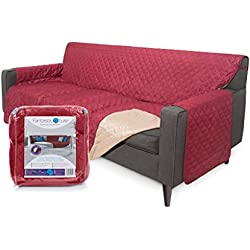"""Fantastic-ture Reversible Couch Cover, Protects Sofa From Dogs, Pets, Kids : Machine Washable & Water Resistant Slipcover for Cushion & Armrest - Medium, Seat Width 70"""", Burgundy/Beige"""
