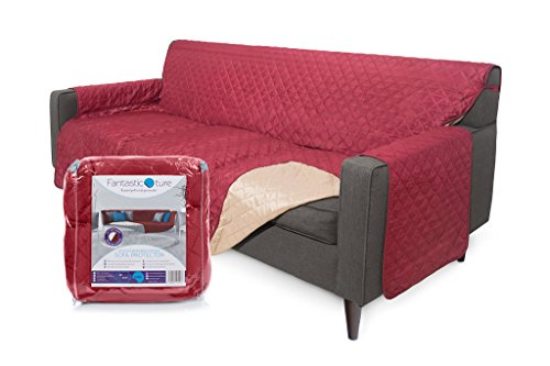 Fantastic-ture Reversible Couch Cover, Protects Sofa from Dogs, Pets, Kids : Machine Washable & Water Resistant Slipcover for Cushion & Armrest - Medium, Seat Width 70