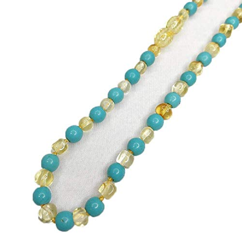 Baby Gemstone Polished Turquoise Baltic Amber Teething Necklaces Baroque Beads Jewelry for -