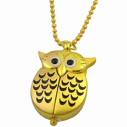 Magentoo(TM) Lady Half Moon Pattern Gold Tone Night Owl Shape Pendant Necklace Watch