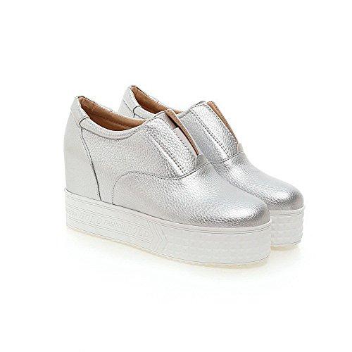 VogueZone009 Damen PU Leder Rein Ziehen auf Rund Zehe Hoher Absatz Pumps Schuhe Silber