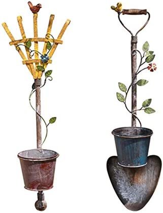 メタルハンギングプランターバスケットプラントホルダーポーチインテリアフラワーポットハンガー庭の装飾屋内屋外の水まきのハンギング (Color : Rake+shovel)