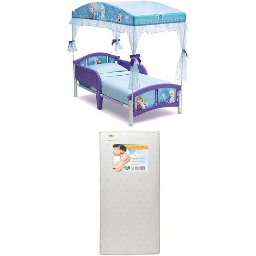 Delta Children Canopy Toddler Bed, Disney Frozen  with Twinkle Stars Crib & Toddler Mattress by Delta Children