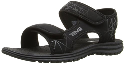 Black Boys Sandals - Teva Tidepool Sport Sandal (Toddler/Little Kid/Big Kid), Black/Grey Print-T, 2 M US Little Kid