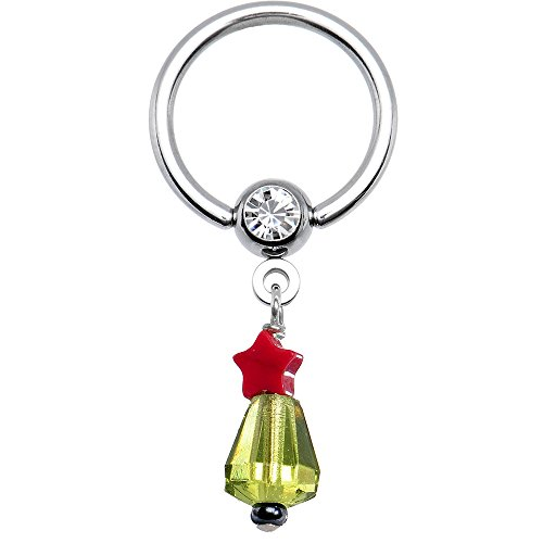 Body Candy Stainless Steel Handcrafted Clear Accent Christmas Tree Star Dangle Captive Ring