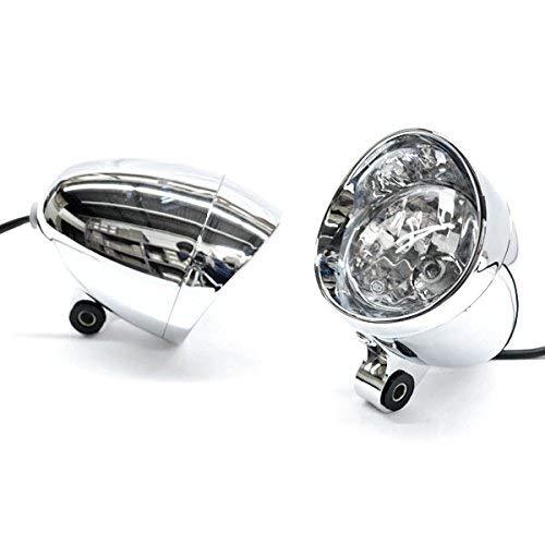 Krator TL088 Chopper (Chrome Bullet Passing Light Lamp Fits Harley Davidson Cruiser) (Motorcycle Chopper Parts)