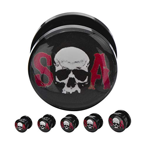 Jewelry Brands Screw Fit Black Acrylic Plugs Sons Anarchy Skull Logo Front (Sold as a Pair) ()