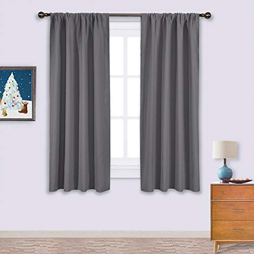 NICETOWN Blackout Curtains Panels for Window - Thermal Insulated Rod Pocket Blackout Drapes/Draperies for Living Room (2 Panels, W42 x L63 -Inch,Grey)