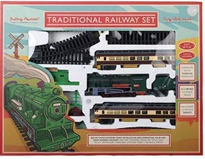 Tren de ferrocarril Tradicional, Funciona con Pilas. Completo con camión de carbón, carruajes de Pasajero, estación, árbol y 24 Piezas de Pista