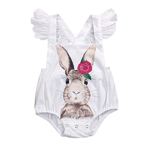Toddler Baby Girls Romper Easter Rabbit Printed Bodysuit Kids Jumpsuit Easter Clothing (White, 6-9 Months)