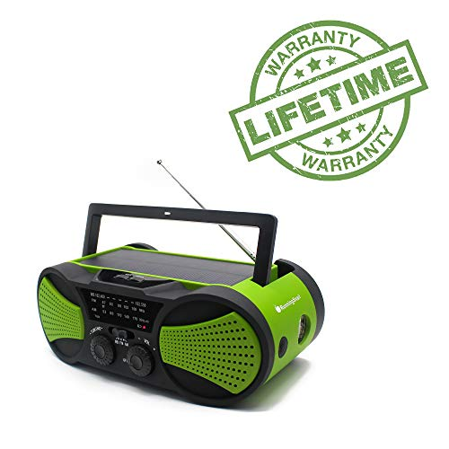 - Emergency Crank NOAA Weather Radio, Audio Speaker, RunningSnail AM/FM 4-Way Powered Radio with 4000mAh Battery, LED Flashlight, Reading Lamp, SOS Alarm and Cellphone Charger (Green)